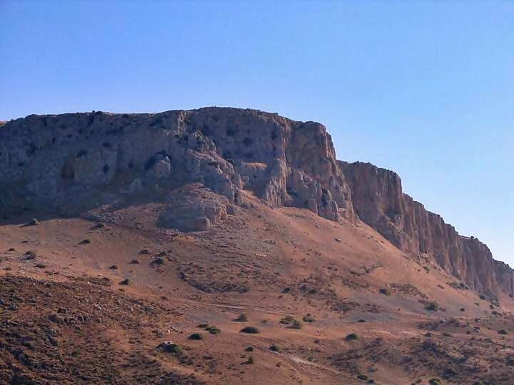 View of the Arbel cliffs from the sea of Galilee, near Magdala.