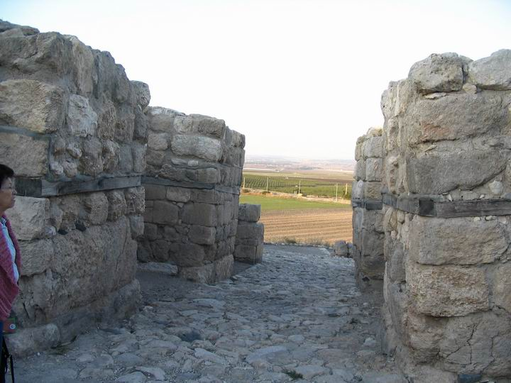 Megiddo North Gate - Canaanite period (15C BC). View from the city