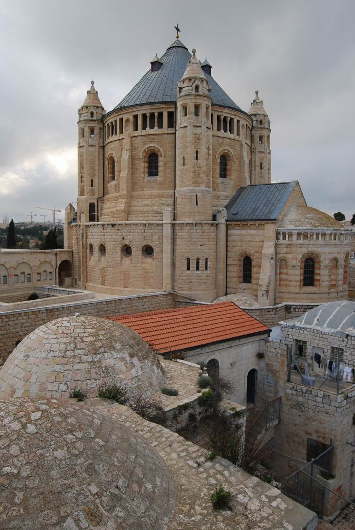 Dormition Abbey, mount Zion: view of the church from the east