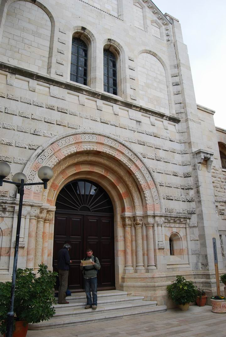 Dormition Abbey, mount Zion: entrance on the west side