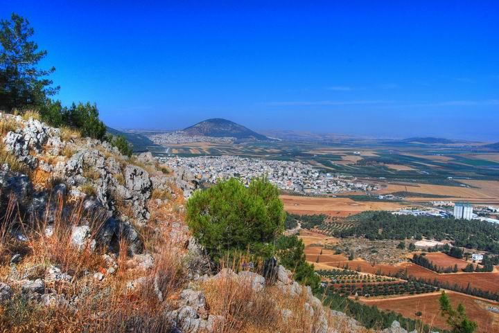 Mt Precipice - view of Mt Tabor and Jezreel valley