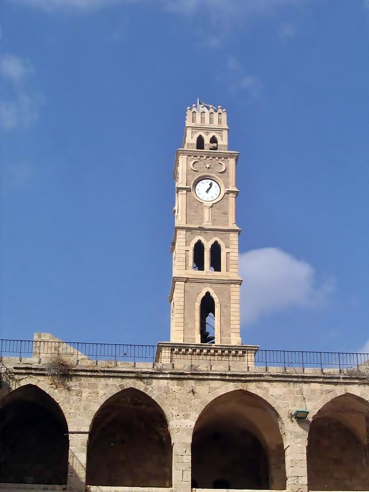 The clock tower above Khan el-Umdan.
