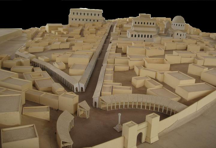 Model of the Byzantine city in Saint-Peter-in-Gallicantu Church, as seen from the north Shchem gate.