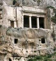 A cluster of tomb built into the rock on the foothills of Mount of Olives, resting place of the Cohen family of Benei-Hezir.