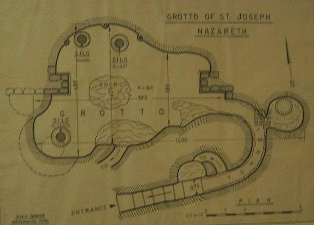 Map of the grotto under the church of St Joseph.
