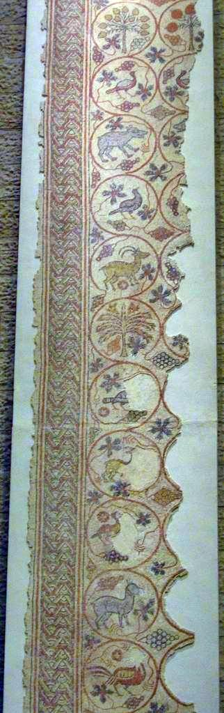Part of a mosaic floor found in a byzantine structure in BethLehem of the Galilee, 5-6C AD.