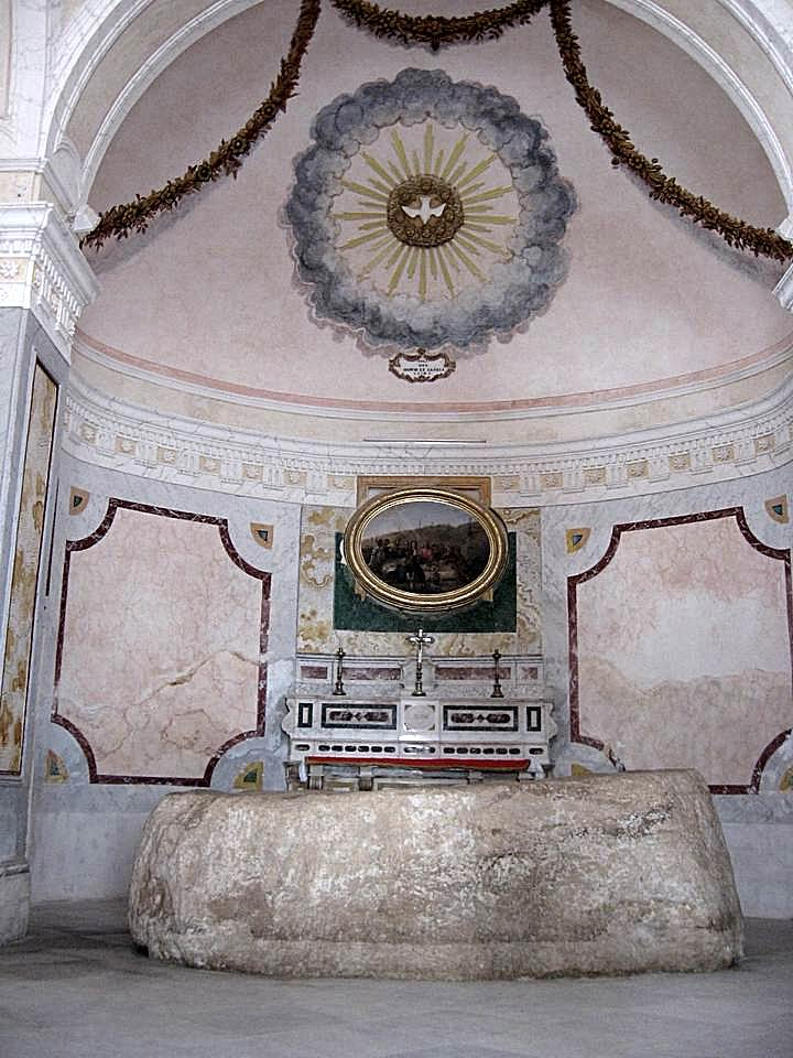 Interior of the Mensa Christi church, and the slab of rock.