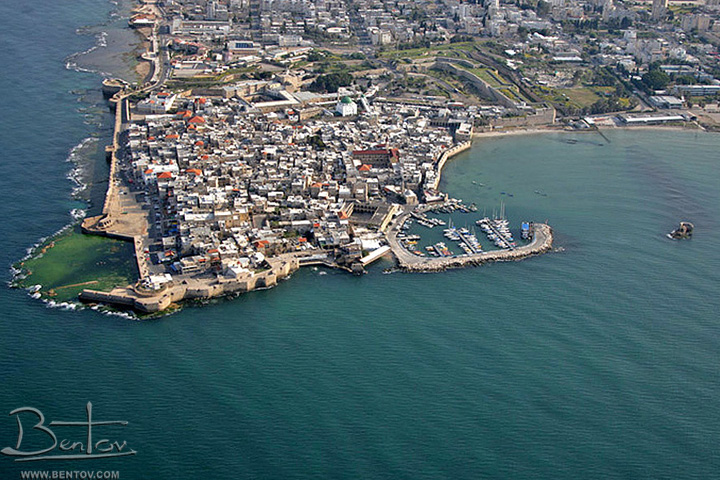 Aeriel vew of the Old city of Acre, as seen from the south side.