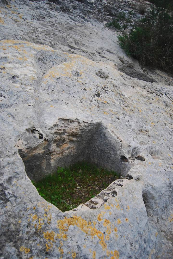 Installations cut into the rock