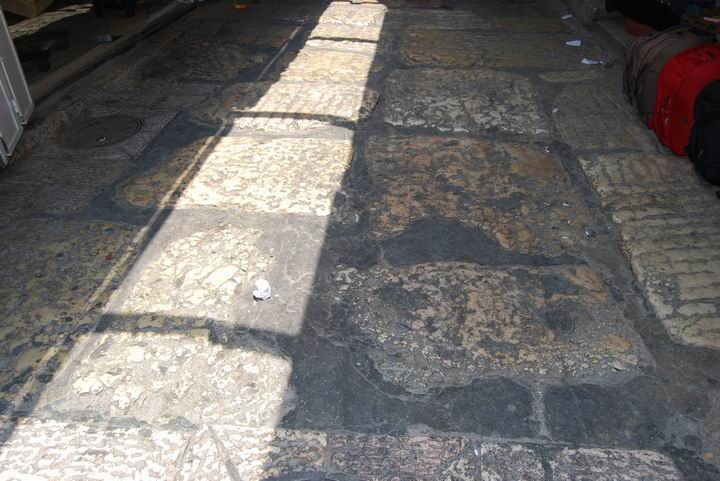 Section of a paved Roman road in the Christian quarter street