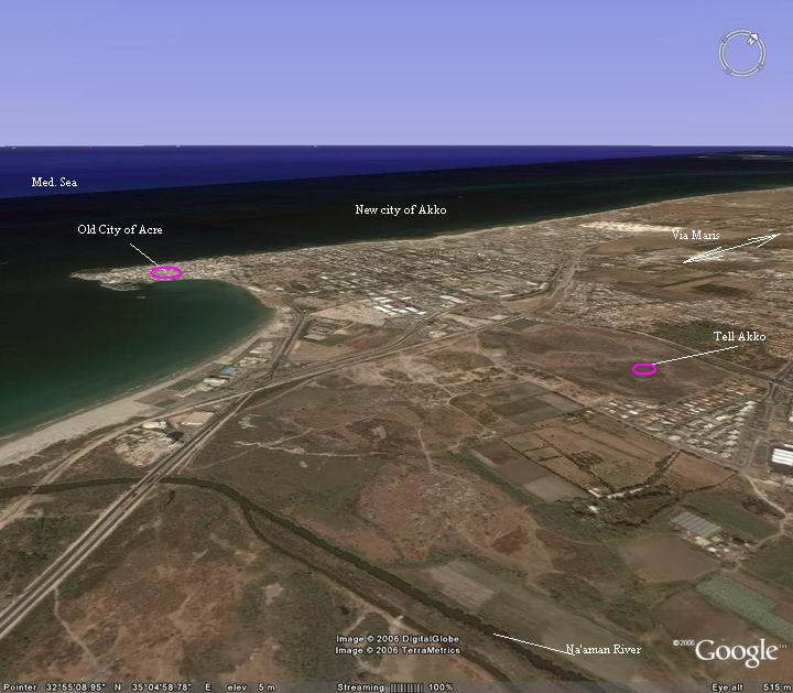 This photo shows an aeriel view of the area of Tell Akko. Point on the purple spots to skip to a review of that site.