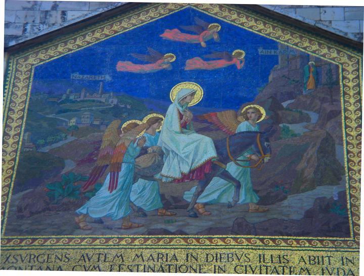 Visitation church: mosaic on the front of the church