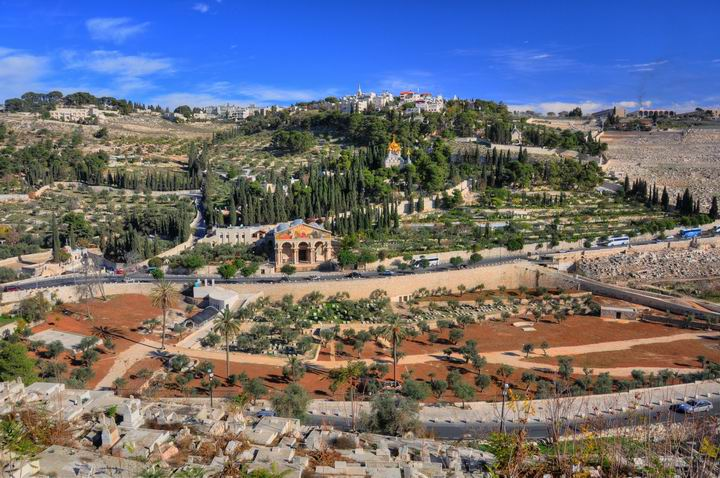 View of Mt Olives from the temple mount - Golden gate