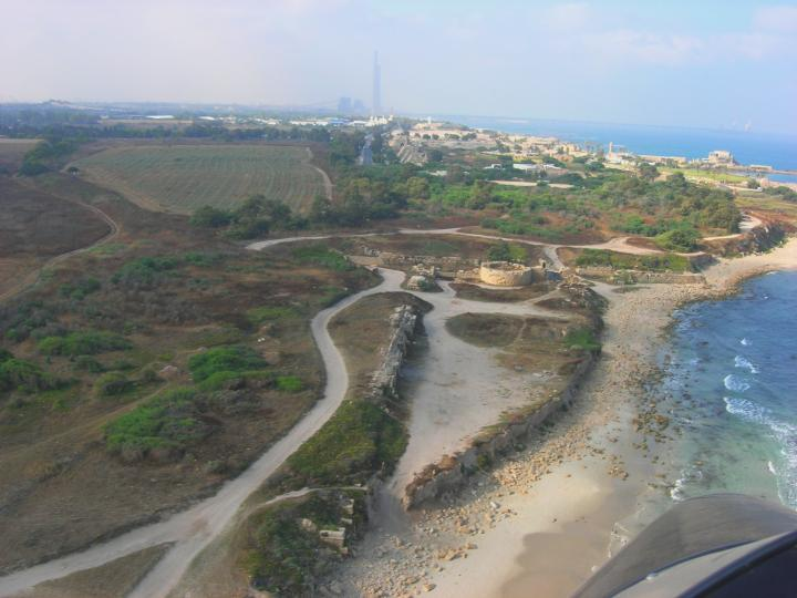 Flight over the Caesarea aqueducts